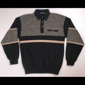 LD Sport Polo shirt Mens Small Black brown striped